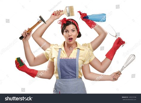 Pretty Very Busy Multitasking Housewife On Stock Photo