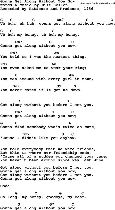 Song lyrics with guitar chords for Gonna Get Along Without