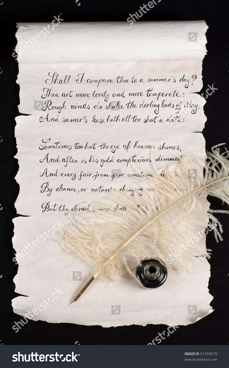 Shakespeares Sonnet 18 On Old Paper Stock Photo 51559579