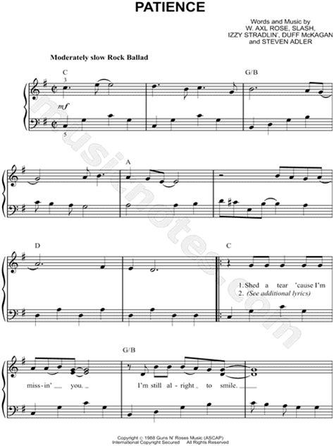 """Guns N' Roses """"Patience"""" Sheet Music (Easy Piano) in G"""