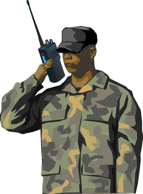 Clipart - Soldier with walkie talkie radio (tall)
