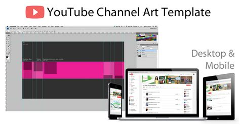 YouTube Channel Art Photoshop Template - Image Size 2560 X