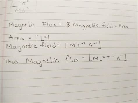derive the dimensional formula of magnetic flux with each
