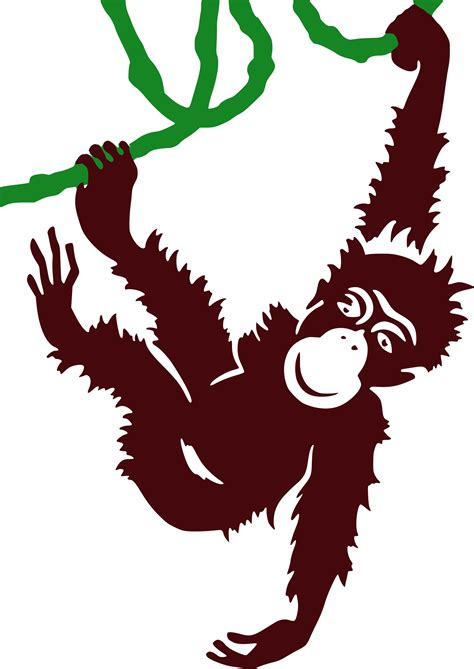 Clipart - Hanging Monkey