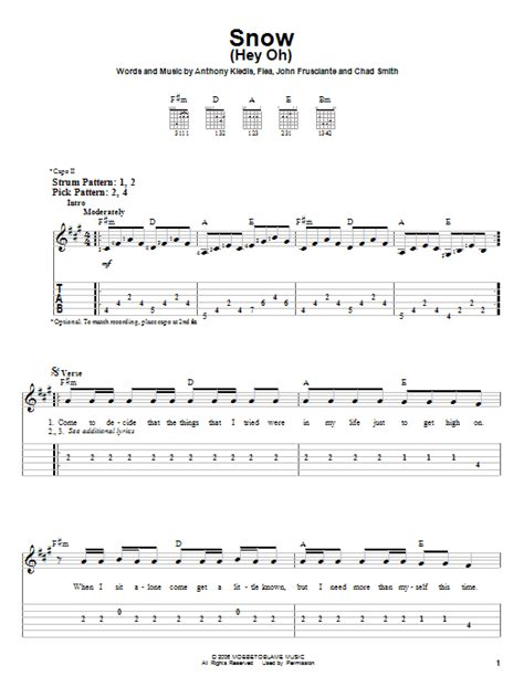 Snow (Hey Oh) | Sheet Music Direct