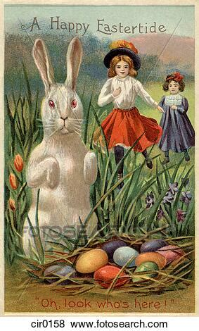 A vintage Easter postcard of two girls running towards a