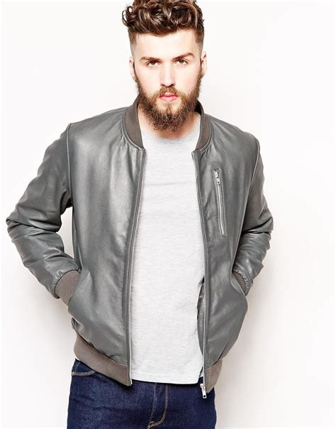 ASOS Leather Bomber Jacket in Grey (Gray) for Men - Lyst