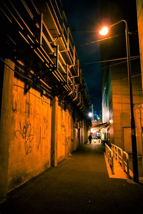 Alley - tidy, unnatural lighting   Night photography