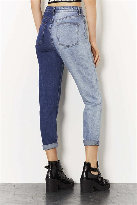 TOPSHOP Moto Two Tone Mom Jeans in Mid Stone (Blue) - Lyst