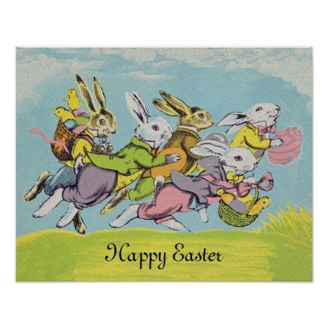 Happy Easter Pastel Running Rabbits Poster   Zazzle