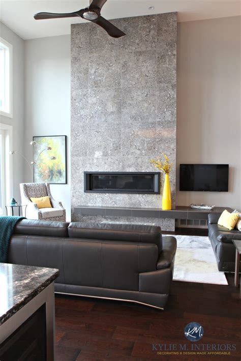 Contemporary fireplace design with tile and linear gas