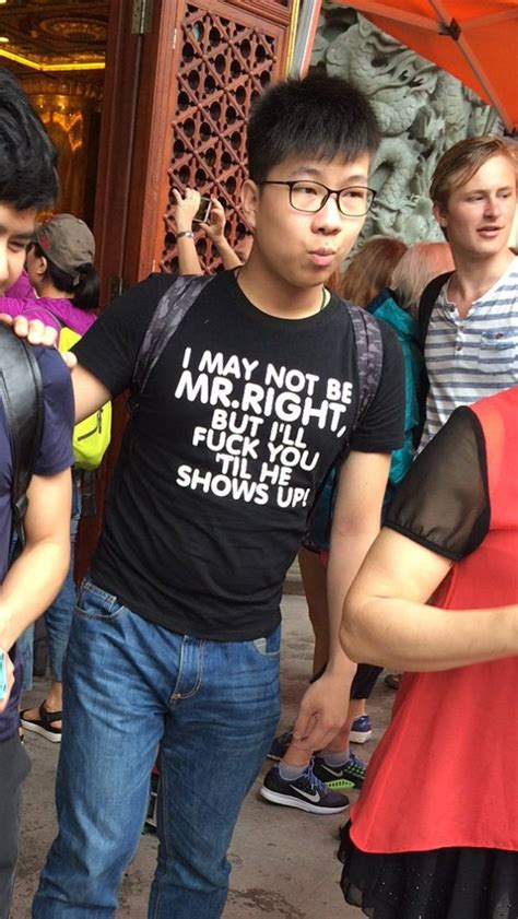 Chinese people who had no idea what their t-shirts said