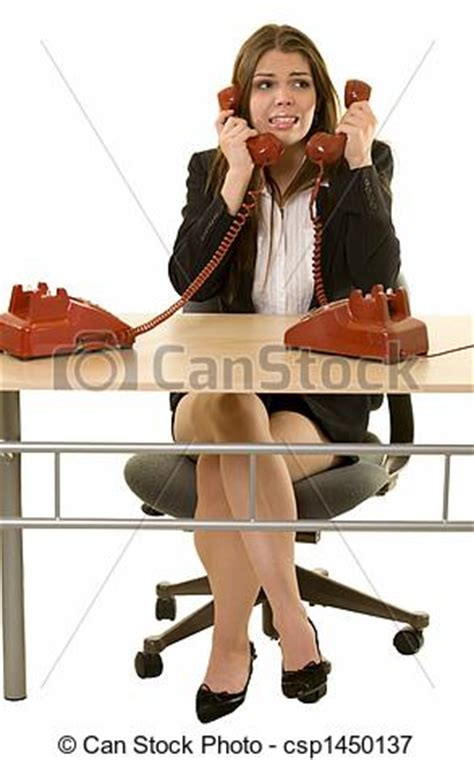 Picture of Busy hot line - Brunette woman secretary