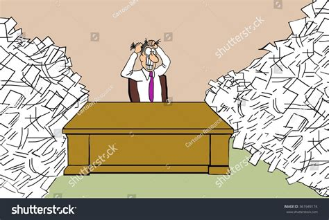 Business Cartoon About Being Overworked Businessman Stock