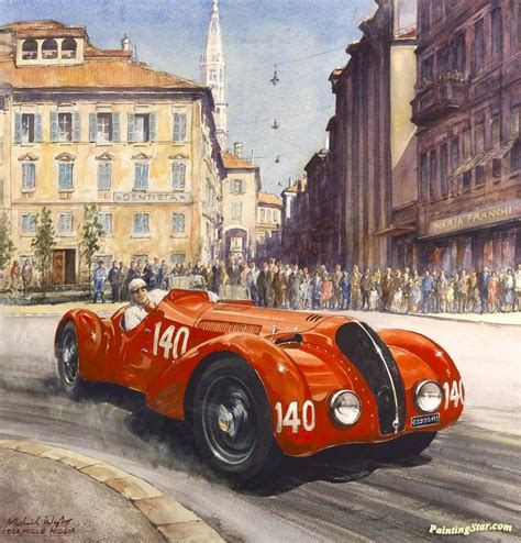 1938 Mille Miglia Artwork By Michael Wright Oil Painting