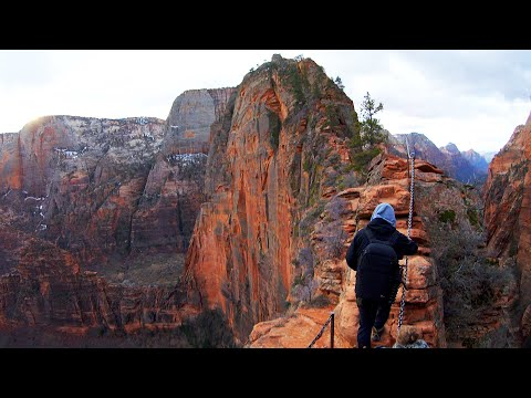 Angels Landing Rock Formation In Utah United States Zion