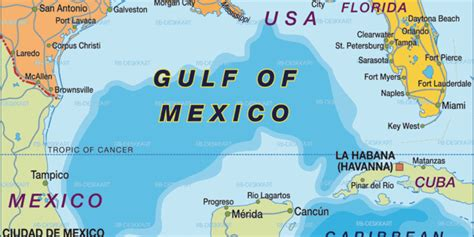Map of Gulf of Mexico (Region in United States, USA